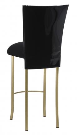 Black Patent Barstool Cover with Black Velvet Cushion on Gold Legs (1)