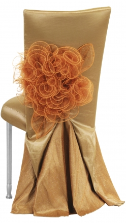 Gold Taffeta BET Dress with Boxed Cushion on Silver Legs (1)
