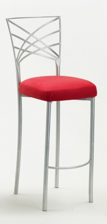 Silver Fanfare Barstool with Red Stretch Knit Cushion (2)