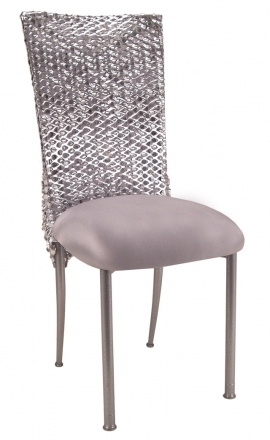 Silver Punchout Chair Cover with Silver Stretch Knit Cushion on Silver Legs (2)