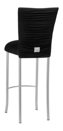 Chloe Black Stretch Knit Barstool Cover with Rhinestone Accent and Cushion on Silver Legs (1)