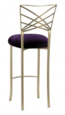 Gold Fanfare Barstool with Eggplant Velvet Cushion (1)