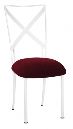 Simply X White with Cranberry Velvet Cushion (2)