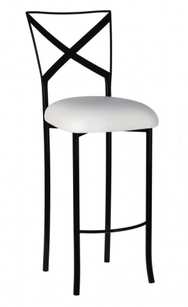Blak. Barstool with White Suede Cushion (2)