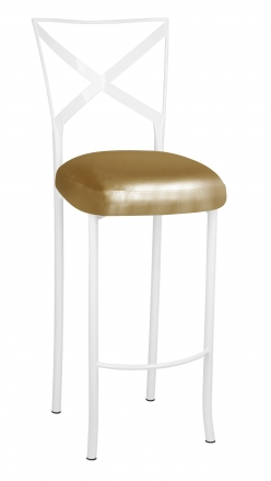 Simply X White Barstool with Gold Leatherette Boxed Cushion (2)