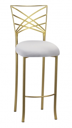Gold Fanfare Barstool with Silver Knit Cushion (2)