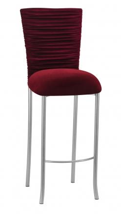 Cranberry Velvet Chloe Barstool Cover and Cushion on Silver Legs (2)