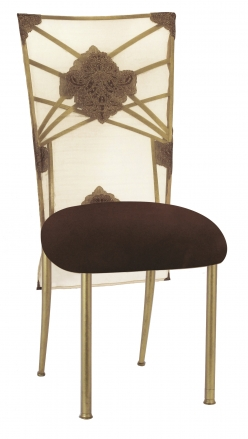 Gold Fanfare with Organza Medallion 3/4 Chair Cover and Chocolate Suede Cushion (2)