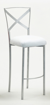 Simply X Barstool with White Leatherette Cushion (2)