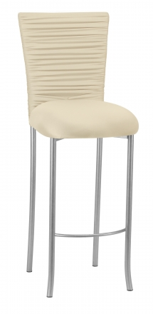 Chloe Ivory Stretch Knit Barstool Cover with Rhinestone Accent Band and Cushion on Silver Legs (2)