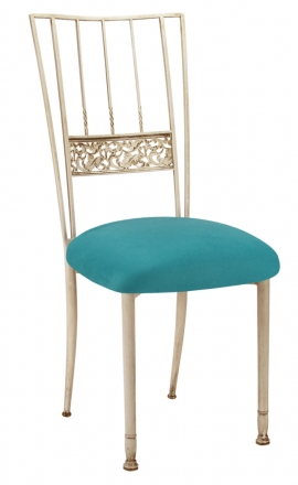 Ivory Bella Fleur with Turquoise Suede Cushion (2)