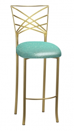 Gold Fanfare Barstool with Mermaid Knit Cushion (2)