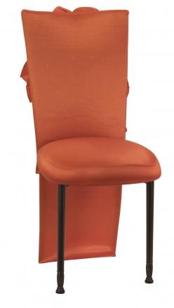 Orange Taffeta Jacket with Flowers and Boxed Cushion on Mahogany Legs (2)