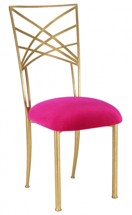Gold Fanfare with Fuchsia Velvet Cushion (2)
