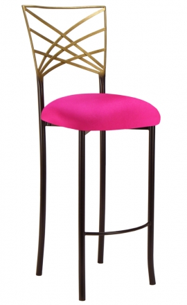 Two Tone Gold Fanfare Barstool with Hot Pink Stretch Knit Cushion (2)