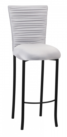 Chloe Silver Stretch Knit Barstool Cover with Rhinestone Accent Band and Cushion on Black Legs (2)