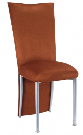 Cognac Suede Jacket and Cushion on Silver Legs (2)