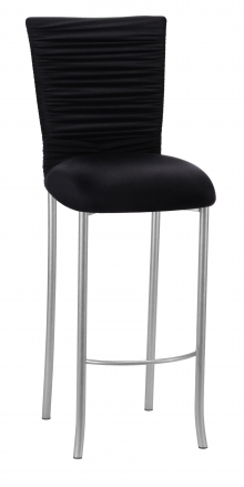 Chloe Black Stretch Knit Barstool Cover with Rhinestone Accent and Cushion on Silver Legs (2)