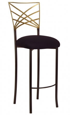 Two Tone Gold Fanfare Barstool with Black Suede Cushion (2)