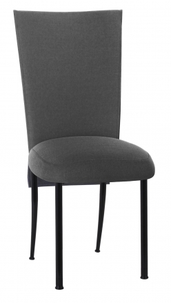 Charcoal Linette Chair Cover and Boxed Cushion on Black Legs (2)