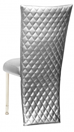 Silver Quilted Leatherette Jacket and Silver Stretch Vinyl Boxed Cushion on Ivory Legs (1)