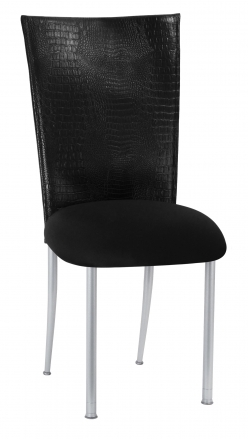 Matte Black Croc Chair Cover with Black Stretch Knit Cushion on Silver Legs (2)