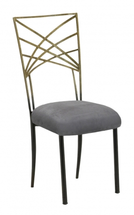 Two Tone Gold Fanfare with Charcoal Suede Cushion (2)