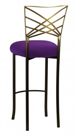 Two Tone Fanfare Barstool with Plum Knit Cushion (1)