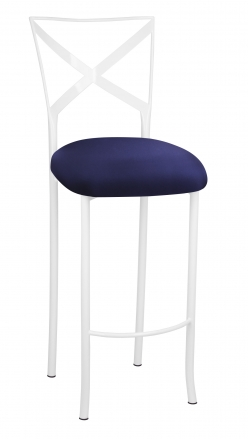 Simply X White Barstool with Navy Stretch Knit Cushion (2)