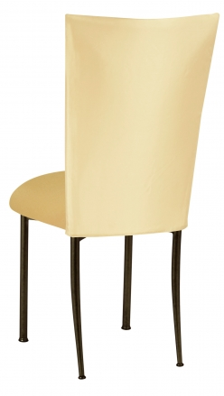 Lemon Ice Dupioni Chair Cover with Gold Knit Cushion on Brown Legs (1)
