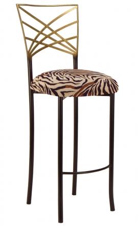 Two Tone Gold Fanfare Barstool with Zebra Stretch Knit Cushion (2)