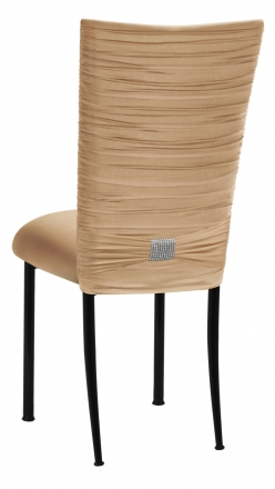 Chloe Beige Stretch Knit Chair Cover with Rhinestone Accent and Cushion on Black Legs (1)