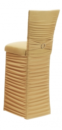 Chloe Gold Stretch Knit Barstool Cover with Jewel Band, Cushion and Skirt (1)