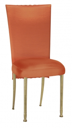 Orange Taffeta Scales 3/4 Chair Cover with Boxed Cushion on Gold Legs (2)