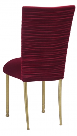 Chloe Cranberry Velvet Chair Cover and Cushion on Gold Legs (1)