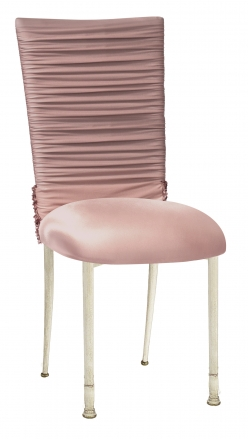 Chloe Blush Chair Cover with Bedazzle Band and Blush Stretch Knit Cushion on Ivory Cushion (2)