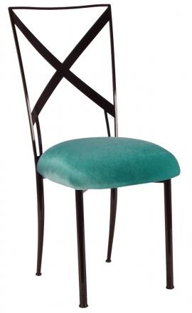 Blak. with Turquoise Velvet Cushion (2)
