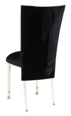 Black Patent 3/4 Chair Cover with Black Stretch Knit Cushion on Ivory Legs (1)