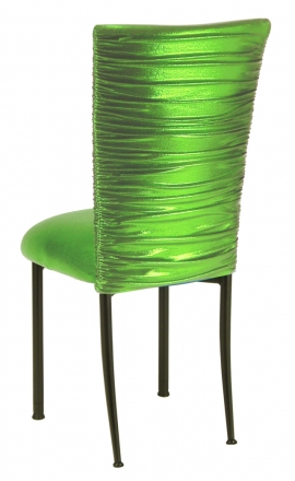 Chloe Metallic Lime Stretch Knit Chair Cover and Cushion on Brown Legs (1)