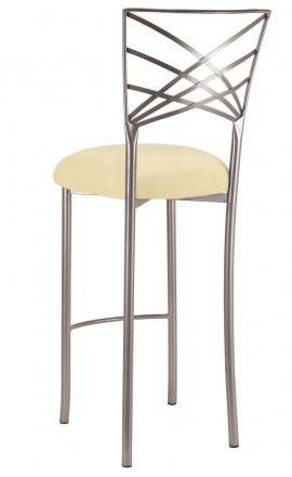 Silver Fanfare Barstool with Buttercup Suede Cushion (1)
