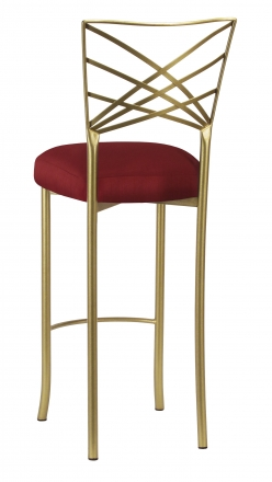 Gold Fanfare Barstool with Burnt Red Dupioni Boxed Cushion (1)
