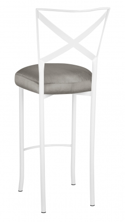 Simply X White Barstool with Charcoal Taffeta Boxed Cushion (1)