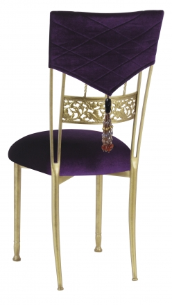 Eggplant Velvet Hat and Tassel Chair Cover with Cushion on Gold Bella Fleur (1)