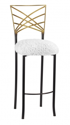 Two Tone Fanfare Barstool with White Lace over White Knit Cushion (2)