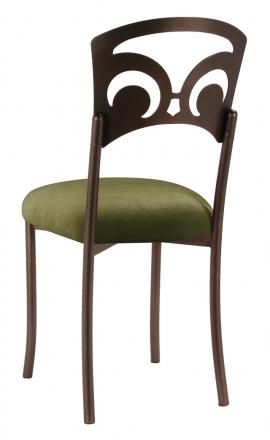 Bronze Fleur de Lis with Olive Velvet Cushion (1)