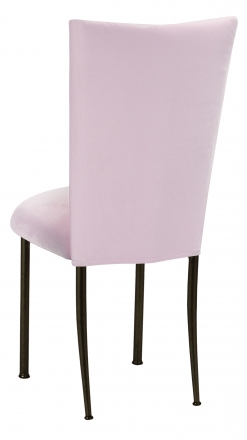 Soft Pink Velvet Chair Cover and Cushion on Brown Legs (1)