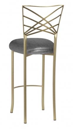 Gold Fanfare Barstool with Gunmetal Stretch Knit Cushion (1)