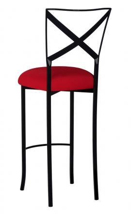 Blak. Barstool with Red Stretch Knit Cushion (1)