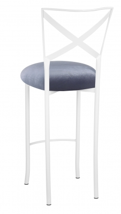 Simply X White Barstool with Steel Velvet Cushion (1)