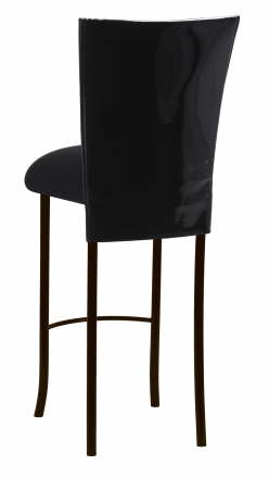 Black Patent Barstool Cover with Black Velvet Cushion on Brown Legs (1)